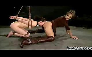 weird and strange lesbo domination in a basement