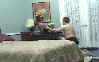 ebony sweetheart has white guy going wild for her