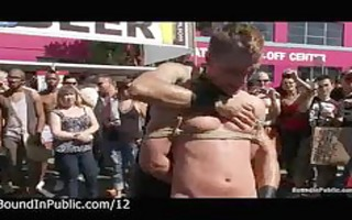tied homosexual guys punished in the streets at