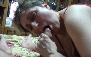 older wife engulfing my penis at home