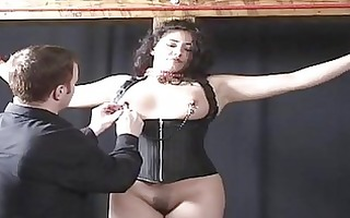 overweight latin chick beauty in a bondag...