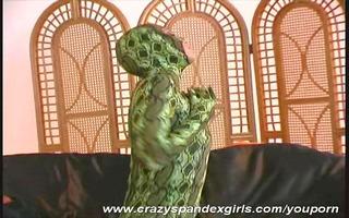 pornstar in snake spandex suit