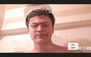 cute gay oriental lad jerking off in the shower