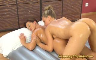 slippery massage lascivious lesbian babes