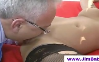 sweetheart in nylons licked by old man