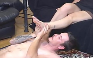 exposed guy licks and worships his tired
