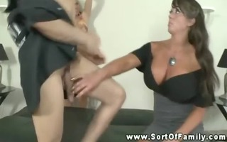large titted mama shows daughter how to orally