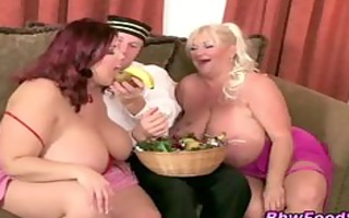 big beautiful woman plumper ffm trio eating
