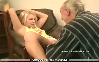 older man and her blond grand daughter