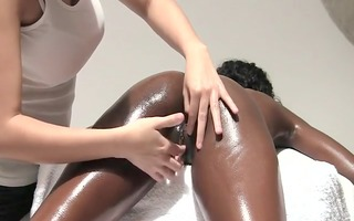 magic lesbo women black massage with oil - nv