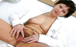hawt milf in nurse uniform stretching hairy love