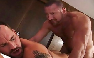 sexy bearded older homo man acquires his face