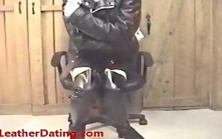 jill showing off in her much loved leather outfit