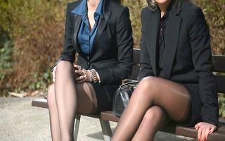 10 youthful hot secretaries in vintage nylons