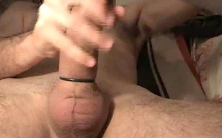 strokin his large thick pole