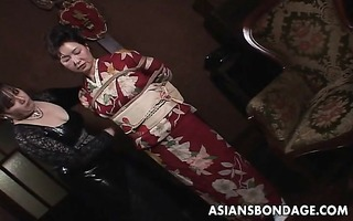 japanese mother i in kimono gets bound up