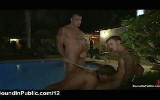 leashed homosexual sucks rods outdoor in helios