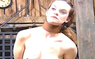 tormented slave is giving corporalist a blow job