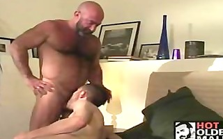 bald older shaggy bear has pleasure with sexually