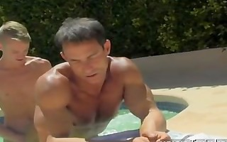 homosexual pecker dad poolside prick loving