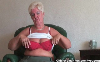 bulky granny with saggy large meatballs and bulky