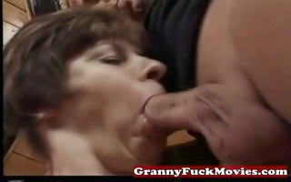granny engulfing and pounding unshaved muff