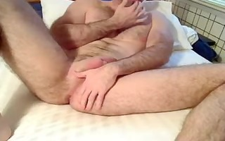 dad fingers his ass, strokes and eats his load