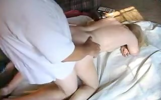 bulky blond wife drilled in doggy