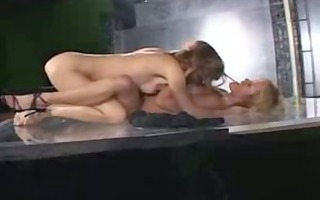 lesbo squirting on glass floor