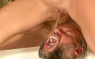 grand-dad and youthful gal pissing and fucking
