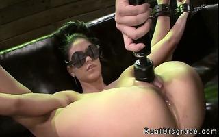 shackled and blindfolded brunette hair jasmine