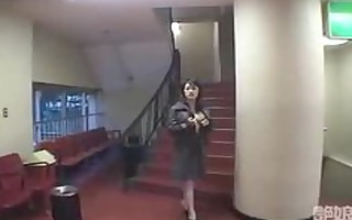 japanese woman who exposes it is in video theater