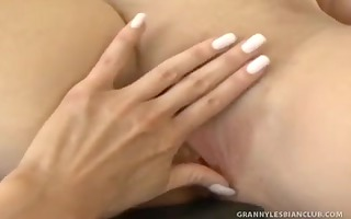 golden-haired granny erica fingered by younger