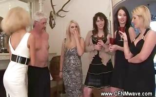 tipsy highclass ladies groping a penis