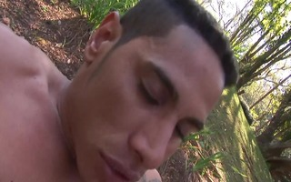 muscled hunky gardener screwed outside