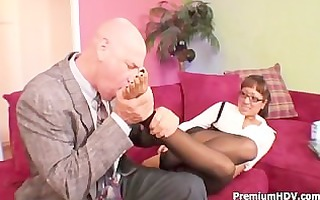 round breasts hottie copulates with boss