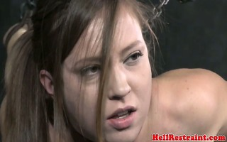 immobilized sub has her a-hole spanked