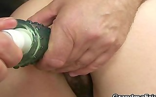 her old hirsute slit is toyed and team-fucked
