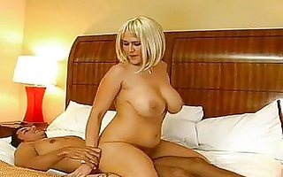 enormous chested obese golden-haired riding on