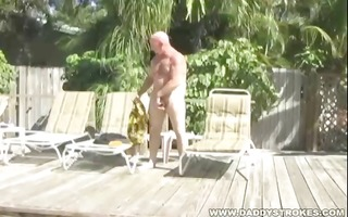daddy chuck plays with himself and threesome sun