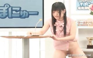 oriental cute tv presenter gets cookie licked in
