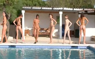 six naked gals by the pool from europe