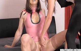 crossdresser doxy wanks large knob as sexy femdom