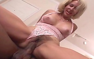 milf receives her bushy snatch filled with black