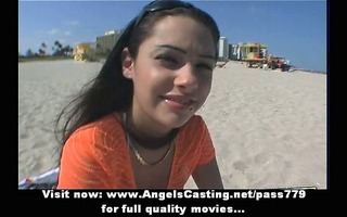 hot brunette hair at seaside screwed hard and