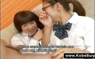 japanese schoolgirls touch a dong