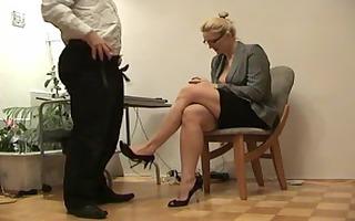 blond teacher footjobs student exam
