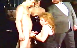 older blond serf girl undresses to be dominated