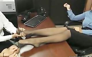feet giving a kiss office angels lesbo beauty on