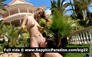 amazing blond and dark brown lesbos licking and